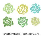 Set Of Flat Succulents With A...