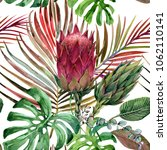 watercolor tropical floral... | Shutterstock . vector #1062110141
