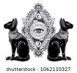 vintage egyptian cat with eye... | Shutterstock .eps vector #1062110327