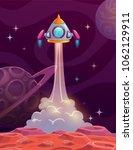 rocket lounch from alien planet.... | Shutterstock .eps vector #1062129911