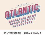 Condensed retro display font design, alphabet, character set, letters and numbers. Swatch color control. | Shutterstock vector #1062146375