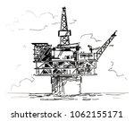 spar platform sketch | Shutterstock .eps vector #1062155171