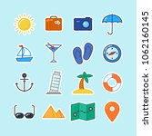 travel flat icon set collection   Shutterstock .eps vector #1062160145