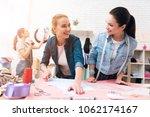 three women at garment factory. ... | Shutterstock . vector #1062174167