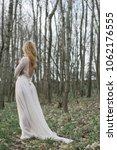 bride standing in forest | Shutterstock . vector #1062176555