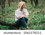 daydreamer woman relaxing in... | Shutterstock . vector #1062178211