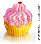pink cupcake decorated with...   Shutterstock .eps vector #1062183554