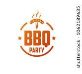 bbq party. retro emblem  logo | Shutterstock .eps vector #1062189635