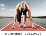 female sprinter waiting for the ... | Shutterstock . vector #106219139