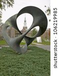 Small photo of OCTOBER 2005 - A metal sculpture stands in front of the Baker Tower on the campus of Dartmouth College in Hanover, New Hampshire