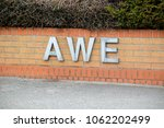 Aldermaston, United Kingdom, 1st April 2018:- Sign at the entrance to the AWE, where Britains Atomic Wareheads are made. - stock photo