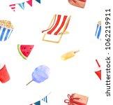 watercolor summer picnic set   Shutterstock . vector #1062219911