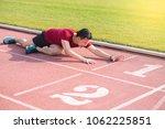 sad young asian man runner... | Shutterstock . vector #1062225851