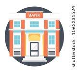 bank building flat vector... | Shutterstock .eps vector #1062231524
