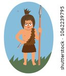 primitive warrior with spear  ... | Shutterstock .eps vector #1062239795