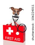 dog with a red  first aid kit | Shutterstock . vector #106224011