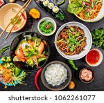 asian food variation with many... | Shutterstock . vector #1062261077