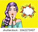 pop art surprised woman... | Shutterstock .eps vector #1062273407