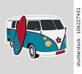 surfer van illustration | Shutterstock .eps vector #106227431