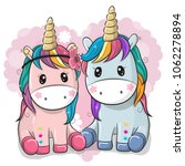 two cute cartoon unicorns on a... | Shutterstock .eps vector #1062278894