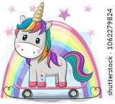 cute cartoon unicorn with... | Shutterstock .eps vector #1062279824