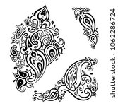 paisley background. hand drawn... | Shutterstock .eps vector #1062286724