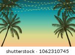silhouette palm tree and... | Shutterstock .eps vector #1062310745