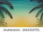 silhouette palm tree and... | Shutterstock .eps vector #1062310751