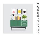 mid century modern furniture... | Shutterstock .eps vector #1062316514