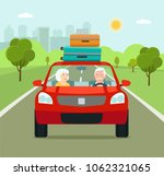 funny old family driving in red ... | Shutterstock .eps vector #1062321065