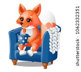 cute smiling fox drinks hot tea ... | Shutterstock .eps vector #1062332351