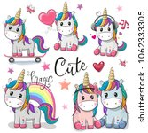 Set Of Cute Cartoon Unicorns...