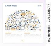 elderly people concept in half... | Shutterstock .eps vector #1062338747