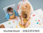 high angle view of son and... | Shutterstock . vector #1062351965