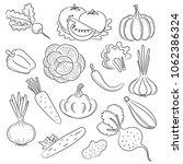 vegetables hand drawn  doodle ... | Shutterstock .eps vector #1062386324