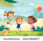 jumping kids at the beach | Shutterstock .eps vector #1062386837