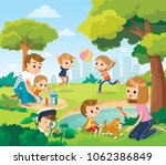 summer park with kids and... | Shutterstock .eps vector #1062386849
