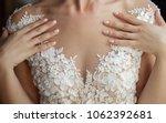 pink manicure and neckline... | Shutterstock . vector #1062392681