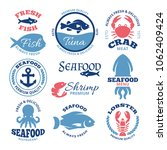 seafood nautical vintage labels ...   Shutterstock . vector #1062409424