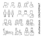 hospital staff thin line icons... | Shutterstock . vector #1062409667