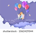 beautiful woman with her... | Shutterstock .eps vector #1062429344