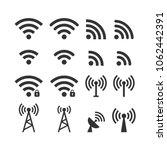 wireless signal web icon set.... | Shutterstock .eps vector #1062442391