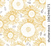 hand drawn sunflower.  vector ... | Shutterstock .eps vector #1062446171