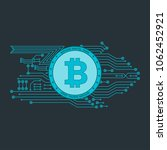 bitcoin sign with computer chip.... | Shutterstock .eps vector #1062452921