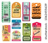 vintage baggage tags and... | Shutterstock . vector #1062455639