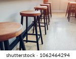 Empty Cafe. Wooden Chairs...