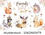 Stock photo cute watercolor bohemian baby cartoon rabbit and bear animal for kindergarten woodland deer fox 1062465479