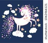 cute magic unicorn on clouds.... | Shutterstock .eps vector #1062466121