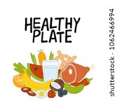 healthy plate hand drawn... | Shutterstock .eps vector #1062466994