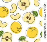 yellow quince hand draw... | Shutterstock .eps vector #1062479855